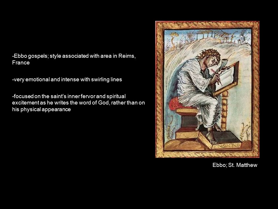 what unique style used in the ebbo gospels is associated with reims?-3